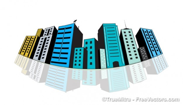 Colored city buildings