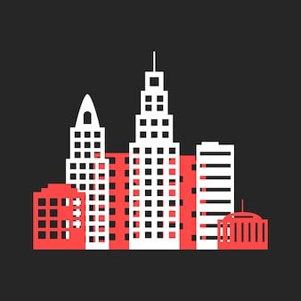 종이 접기 같은 컬러 도시 아이콘입니다. 도시 스카이 라인, 도시 아이콘, 도시 거리, 도시의 밤, 도시 풍경의 개념. 검은 배경에 고립. 평면 스타일 트렌드 현대 도시 로고 디자인 벡터 일러스트 레이 션