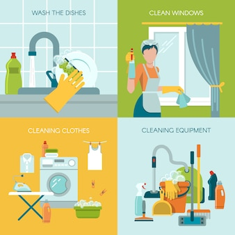 Colored cleaning illustration concept set