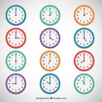 Colored clocks Premium Vector