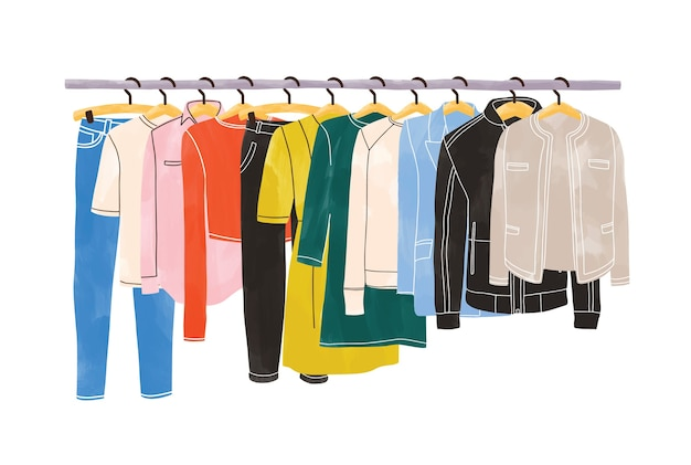 Colored clothes or apparel hanging on hangers on garment rack or rail isolated on white background. clothing organization or storage. inner space of closet or wardrobe. hand drawn illustration