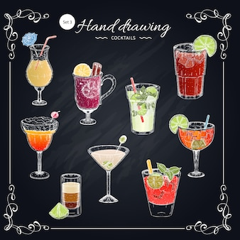 Colored cocktails hand drawn set