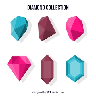 Colored collection of flat gemstones