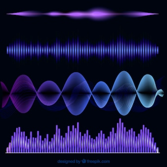 Colored collection of four abstract sound waves