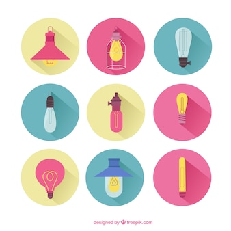 Colored collection of light bulbs