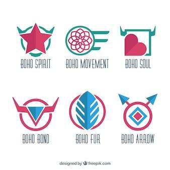 평면 디자인의 boho 로고 컬러 컬렉션