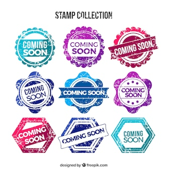 Colored coming soon stamps in retro style