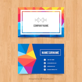 Colored corporate card with geometric shapes