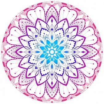 色付きの装飾マンダラ。東洋の柄