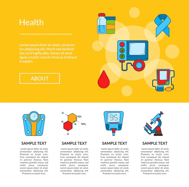 Colored diabetes icons web page