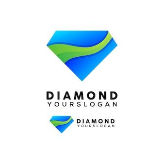 Colored diamond logo design vector