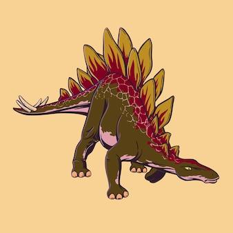 漫画のスタイルで描かれた着色された恐竜ステゴサウルス。ポップアートスタイルで捕食者を攻撃します。ベクトルイラスト