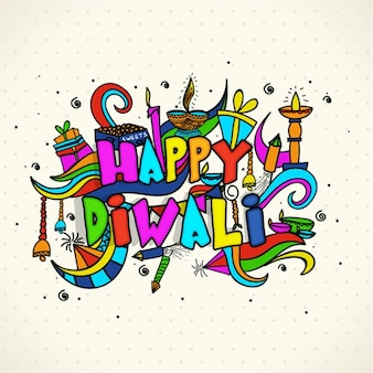 Colored diwali background with hand-drawn items