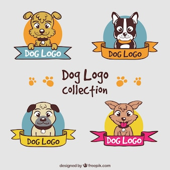 Colored dog logos with decorative ribbons