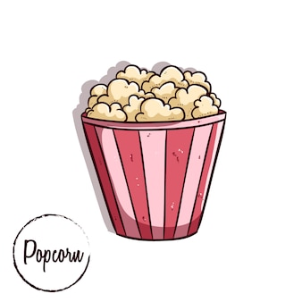 Colored doodle style of popcorn with text