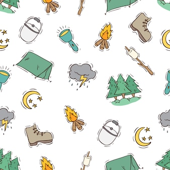 Colored doodle style of summer camp icons in seamless pattern