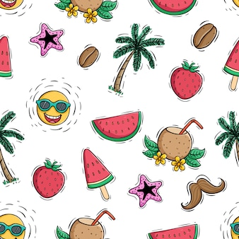 Colored doodle style of summer icons in seamless pattern