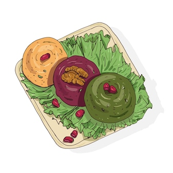 皿の上に横たわっているおいしいpkhaliの色付きの図面。