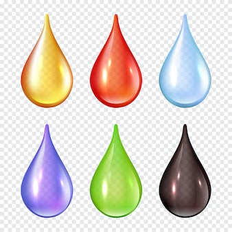 Colored drops. splashes of paint liquid realistic  illustrations water drops