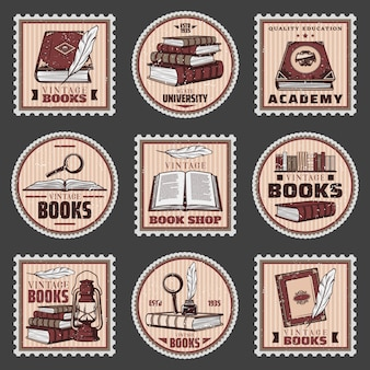 Colored education and bookstore stamps set with different books magnifier feather inkwell lantern in vintage style isolated