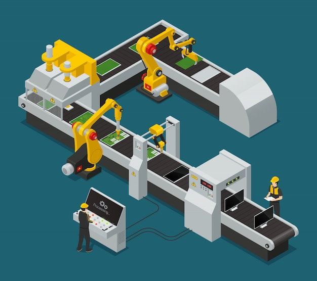 Colored electronics factory equipment staff isometric composition with workflow at the factory