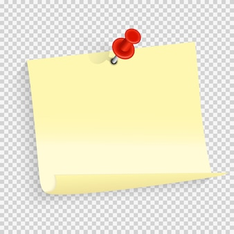 Colored empty paper note sticker with red pin for office text or business messages.