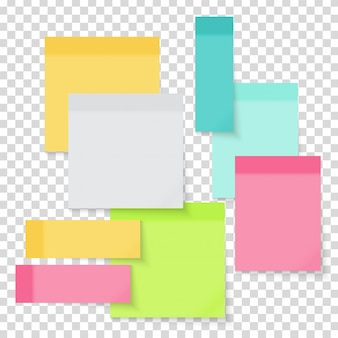 Colored empty paper note stickers set