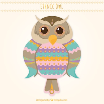 Colored ethnic owl background