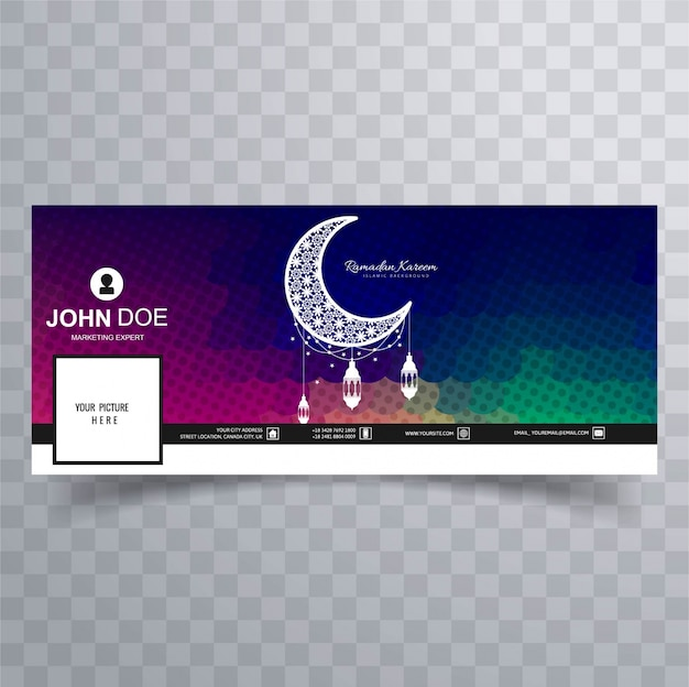Colored facebook cover of ramadan with moon