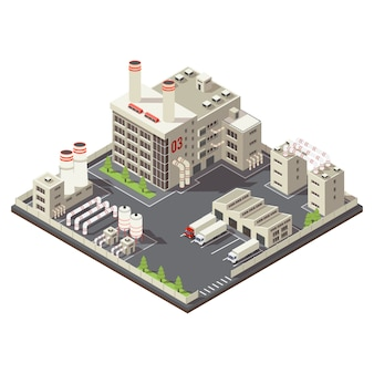 Colored factory industrial area isometric