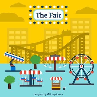 Colored fair amusement rides