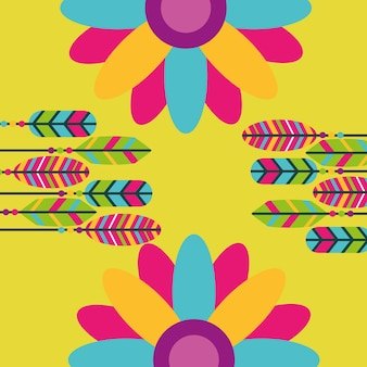 Colored feathers flowers hippie retro free spirit