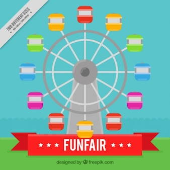 Colored ferris wheel funfair background