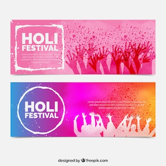 Colored festival banners