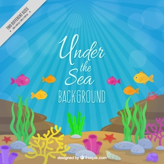 Colored fishes and seaweeds under the sea background