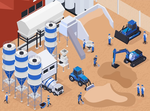 Colored and flat concrete cement production isometric illustration