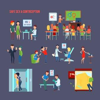 Icona di contraccezione piatta colorata impostata con bambino a scuola e la loro descrizione del sesso informante e sicuro