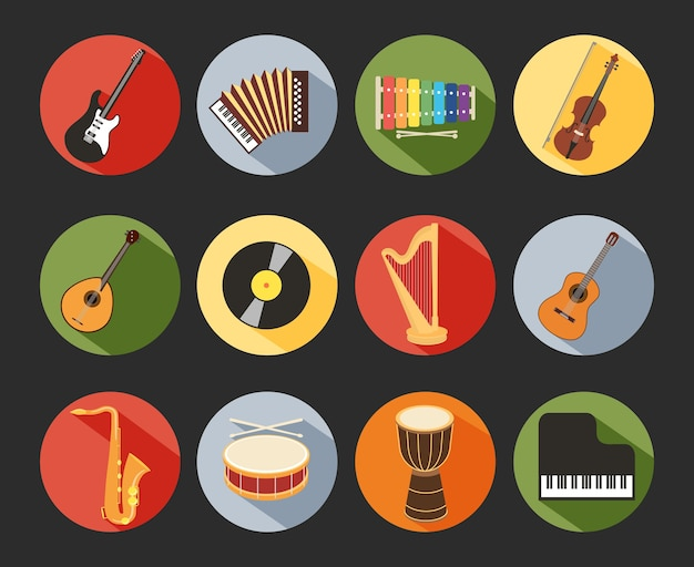 Colored flat musical icons isolated on black background