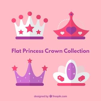 Цветные плоские короны принцессы