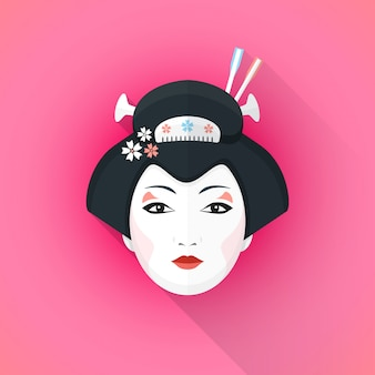 色付きのフラットスタイルの芸者顔イラスト