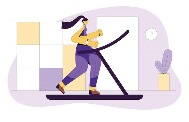 トレッドミルで走っている少女の色付きのフラットスタイルのイラスト。女の子はスポーツに出かけます。