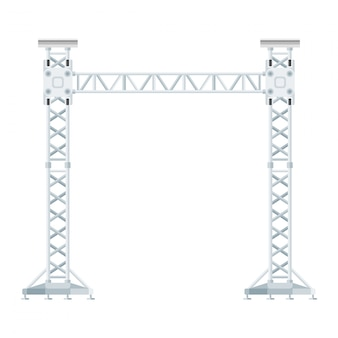 Colored flat style truss tower lift construction