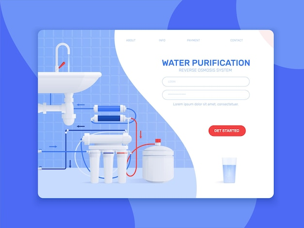Colored flat water filter illustration