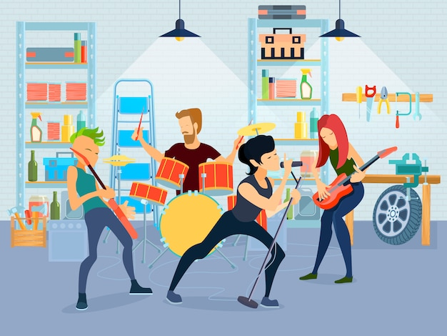 Colored flat young musicians composition four people playing guitar with band in garage