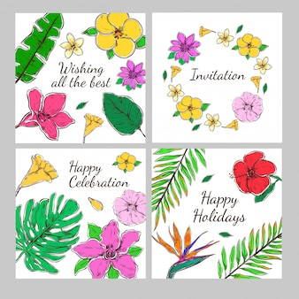 Colored floral decorative invitation cards set
