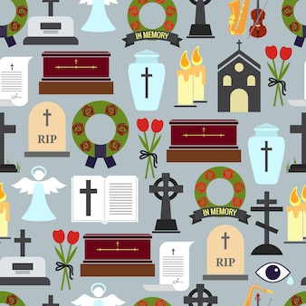 Colored funerals and mournful ceremony patterns illustration