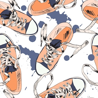Colored funky gumshoes fashion sneakers grunge style with ink splash seamless pattern vector illustration