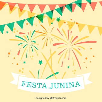 Colored garlands with fireworks festa junina background