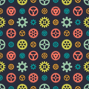 Colored gears seamless pattern