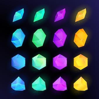 色の宝石のイラストセット